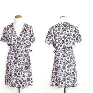 J. Crew Floral Pink Printed wrap Dress Size 4 NWT